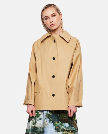 Cotton blend poplin trench coat