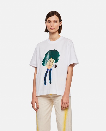 Cotton T-shirt with illustrated print
