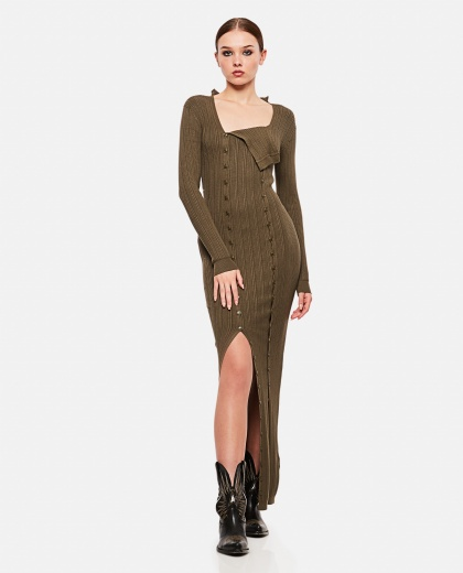Longuette knitted dress with buttons