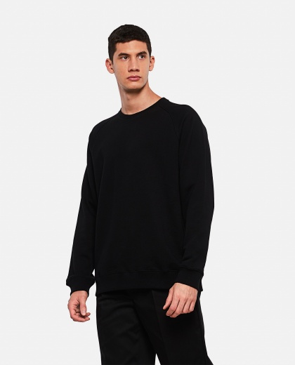 Black cotton sweatshirt with reflective logo