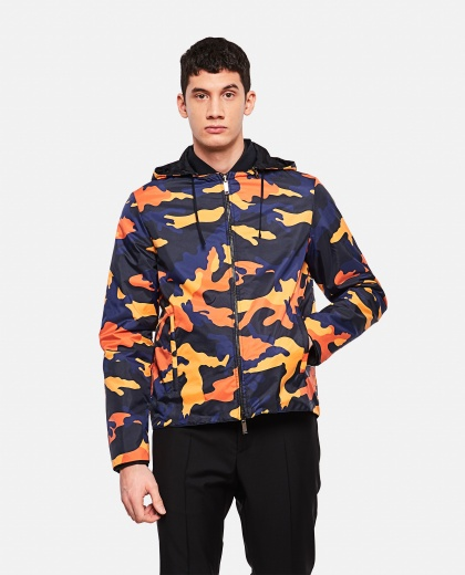 Windbreaker with camouflage print