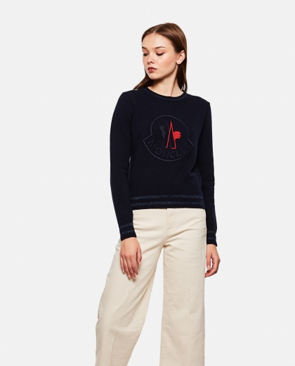 Tricot wool and cashmere crewneck pullover
