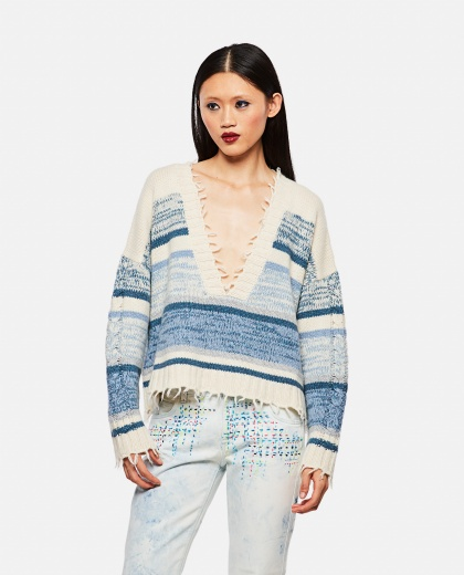 Frayed edge knitted jumper