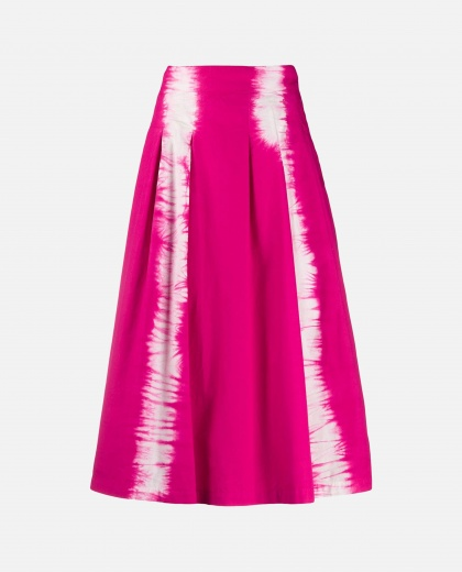 Flared skirt with tie dye pattern
