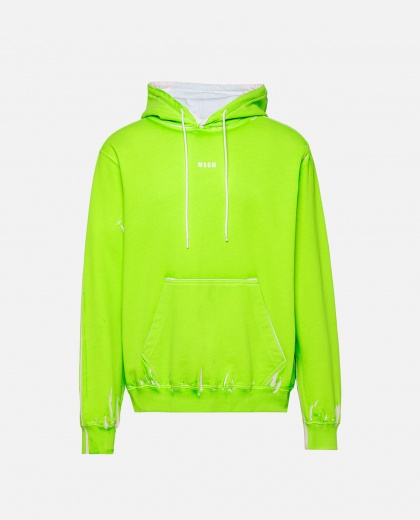 Hooded sweatshirt in neon green