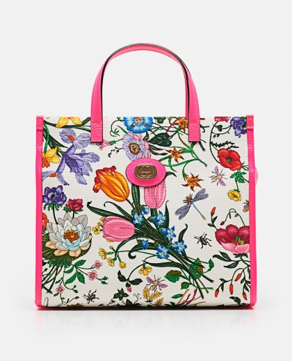 Shopping Bag With Flora Print