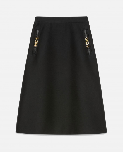 Cady wool silk skirt