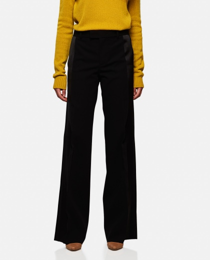 Wide leg pants with side band