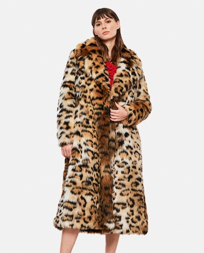 Oversize coat with leopard print